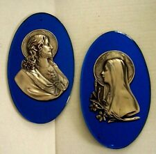 2 Art Deco Jesus & Mary Sacred Heart Blue Mirror Glass Wall Hanging Plaques