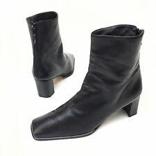 STUART WEITZMAN Black Leather Ankle Boots sz. 8.5B Bootie Zipper Block Heel