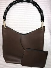 Vtg Gucci Trinity Brown Leather Black Bamboo Handle Hobo Handbag / Pouch Classic