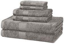 AmazonBasics Fade-Resistant Cotton 6-Piece Towel Set Grey