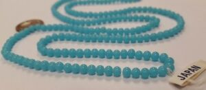 200 VINTAGE JAPAN 1950's CHERRY BRAND GLASS BLUE TURQUOISE 4mm. ROUND BEADS 4634