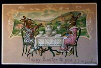 Dressed Rabbits Drinking Tea~ Smoking Hookah Pipe Easter Fantasy Postcard-b927