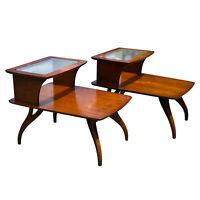 Mid Century Modern Walnut Sculpted Glass Tier End Table by Bassett - A Pair