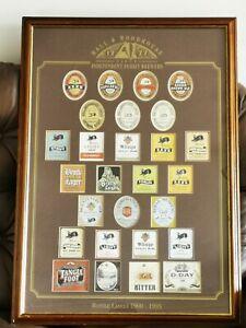 Limited edition Hall & Woodhouse Framed Badger Beer Bottle Labels 1900-1995 VGC