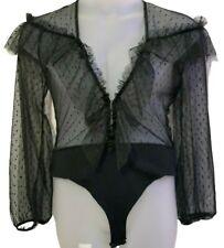 Women's Black Mesh Blouse Bodysuit Ladies Sheer Vest Ladies Leotard Sheer Top
