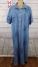 Rag Womens Plus Size Dress 20 Tie Dye Cotton Denim Modest Maxi EUC Full Length