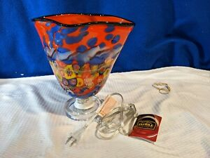 DALE TIFFANY Favrile Red Hand Blown Art Glass Accent Lamp VERY NICE!