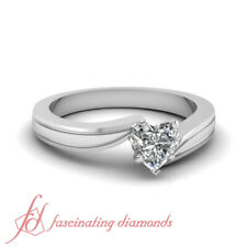 .50 Ctw. Heart Shaped Diamond Solitaire Tapered Style Wedding Ring In Platinum