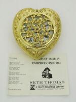 VINTAGE SETH THOMAS GERMANY - GOLD TONE HEART SHAPED TRAVEL ALARM CLOCK