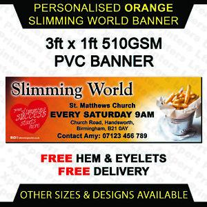 Slimming World Personalised Orange pvc vinyl banner outdoor sign print 3ft x 1ft