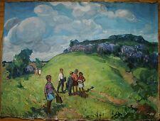 Russian Ukrainian Soviet Oil Painting children Pioneer Landscape impressionism