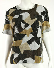 GIVENCHY Multi-Color Beaded Square Sequin Embellished Cocktail Top L