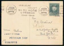 Mayfairstamps Czechoslovakia 1948 Pribram to NY Dr Jindrich Vanicek Card wwf_900