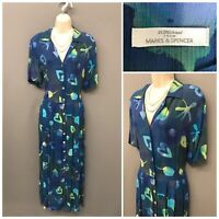 St Michael M&S Indigo Mix Dress UK 16 EUR 44