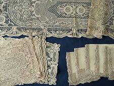 Unusually good antique Chinese design needle lace Placemat Runner Napkin set