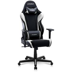 DXRacer Racing Ergonomic Home Office Desk Computer Gaming Chair, Black & White