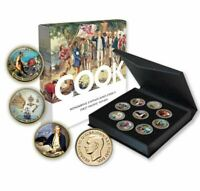CAPTAIN COOK Gold Plated Enamel Penny 9 Coin Collection