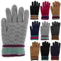 Women's Pattern Knit Winter Gloves Soft Warm Knitted Sherpa Fleece Lining Ladies