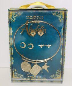 Disney Store Aladdin Princess JASMINE Jewelry Gold Tone Bangle & Earrings Set