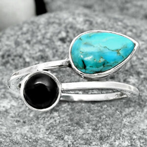 Natural Turquoise Morenci Mine & Black Onyx 925 Silver Ring s.8.5 Jewelry E073
