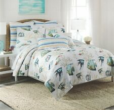 2-pc ☆ TROPICAL FISH ☆ Twin Quilt Set NICOLE MILLER Coastal Beach House Stripes
