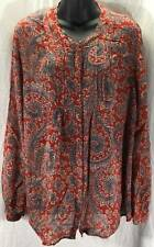 Lucky Brand Blouse Top Size XL Extra Large Red Blue Paisley Tunic Womens 3509