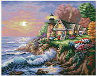 14 count aida needlepoint cross stitch seascape kit w colorful chart TD176