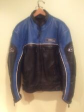 Men's First Racing Blue/Black Leather Kevlar Motorcycle Street Gear Jacket (M)