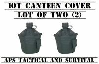 NEW 2 Pack Tactical Military 1qt Canteen Cover w Alice Clips & Pouch SWAT BLACK