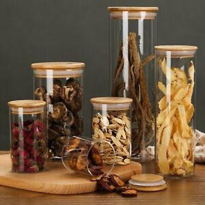 Vorratsgläser mit Bambusdeckel Aufbewahrungsgläser Vorratsdosen Glasbehälter
