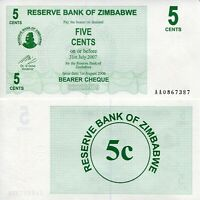 ZIMBABWE 5 CENTS Banknote World Paper Money UNC Currency PICK p34 2006 Cheque