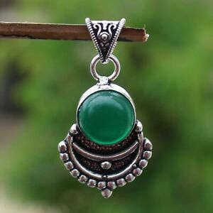925 Sterling Silver Plated Green Onyx Handmade Pendant Jewelry DP20-128
