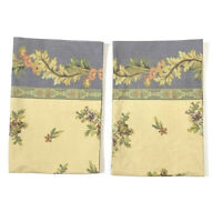 Vintage Floral Set Pair 2 Pillowcases Needlepoint Floral Print Brown Blue Gold
