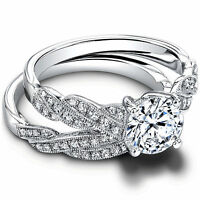 Engagement Ring Sets 1.20Ct Diamond Ring Solid 14k White Gold Ring Size 6 7 8 9