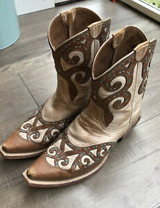 Ariat Women's Cutout Inlay Cowboy Boots Brown Tan Teal Size 8.5 Style 10012848