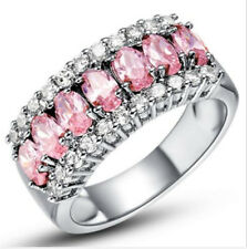 Fashion Women Jewelry pink Gemstones Wedding Engagement Party Ring Size:9