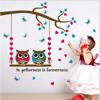 Removable Owl Bird Tree Swing Wall Sticker Decal For Kid Nursery Room Decoration