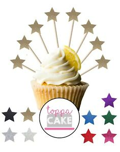 18 Glitter STAR Party Decoration Cupcake Pick Toppers Birthday Food Cake Flags