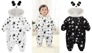 Snow Proof Baby Panda Ski Snow Suit Fleece Lined Infant Padded Snowsuit 0 & 2