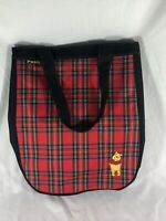 DISNEY WINNIE THE POOH CARRY ON BAG TOTE SCHOOL BOOKS RED BLACK PLAID
