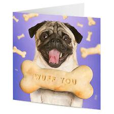 Pug Con Hueso De Perro mensaje Wuff usted San Valentín o tarjeta de cumpleaños