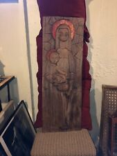 """Carved Wood Mother & Child Art Panel relief wall hanging  35"""" X 12"""" Vintage"""