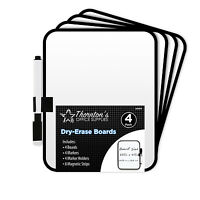 4 Thornton's Dry-Erase 6 x 8 Dorm Locker Whiteboards w/Marker & Magnet Strips