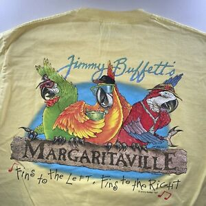Vintage 1997 Men's Jimmy Buffet Margaritaville Tee Shirt Yellow Size Large Rare
