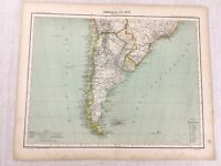 1898 French Map of South America Argentina Chile 19th Century Antique Original