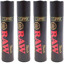 4 X ORIGINAL BRAND  New Clipper Raw Black  Full Size Refillable Lighters