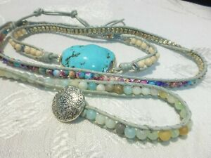 5 wrap Leather with Quartz and Crystal Faceted Turquoise Beaded Bracelet AMAZING