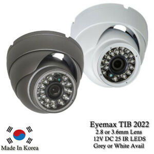 Eyemax TIB 2022 1080P In/Outdoor IR Turret Camera, 3.6mm or 2.8mm 12V DC W or G