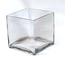 "8"" Square Large Glass Vase Clear Cube Oversize Centerpiece 8x8x8"