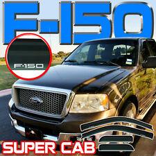 04-08 F150 Super Cab Side Window Sun Deflectors Rain Visor Vent Shade Extended